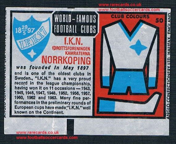 1970 Anglo Gum waxy paper insert World Famous Football Clubs IFK Norrkoping